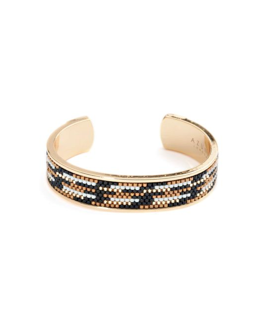 Azuni London | Metallic Nacona Wide Bangle In Lynx | Lyst