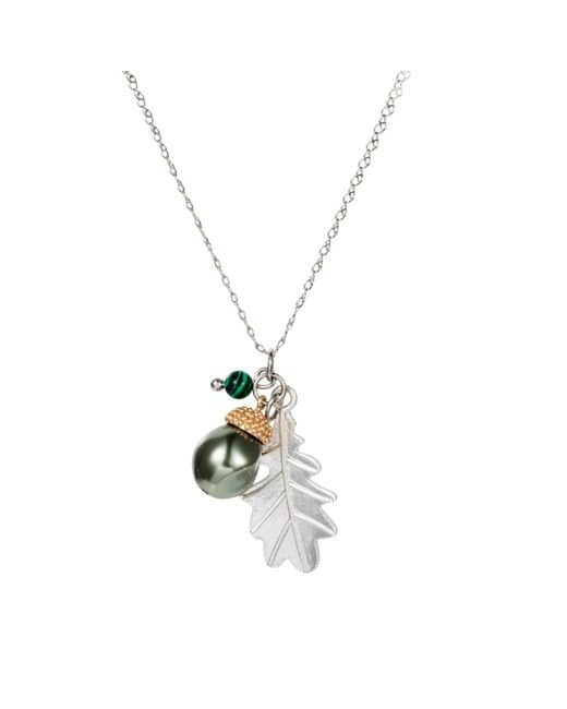 Nadia Minkoff - Metallic Acorn Charm Necklace Silver With Malachite - Lyst