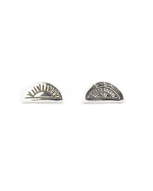 No 13 - Metallic Sun & Moon Half Circle Stud Earrings Silver - Lyst