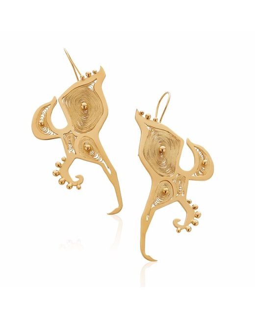 Nooneh London | Metallic Outside The Box Statement Earrings Gold | Lyst