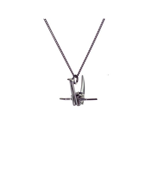 Origami Jewellery - Black Mini Crane Necklace Gun Metal - Lyst