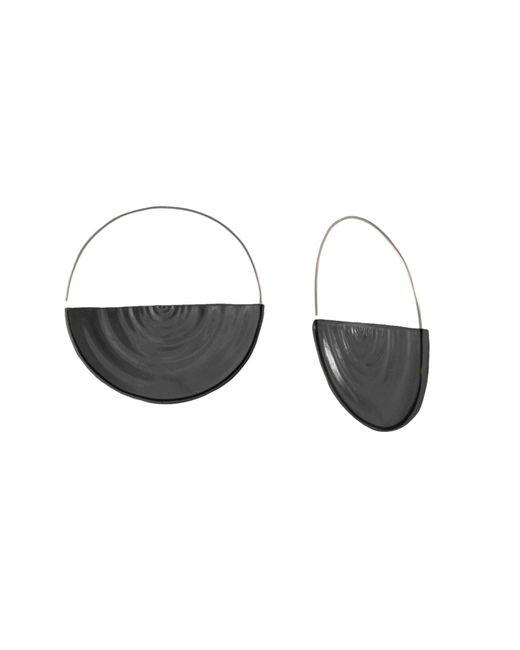 MARIE JUNETM Jewelry - Half Ripples Smokey Black Hoops - Lyst