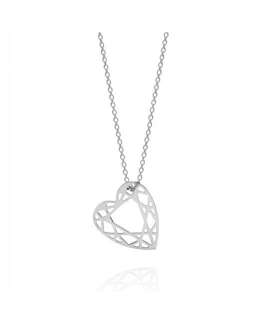 Myia Bonner - Metallic Silver Small Heart Diamond Necklace - Lyst
