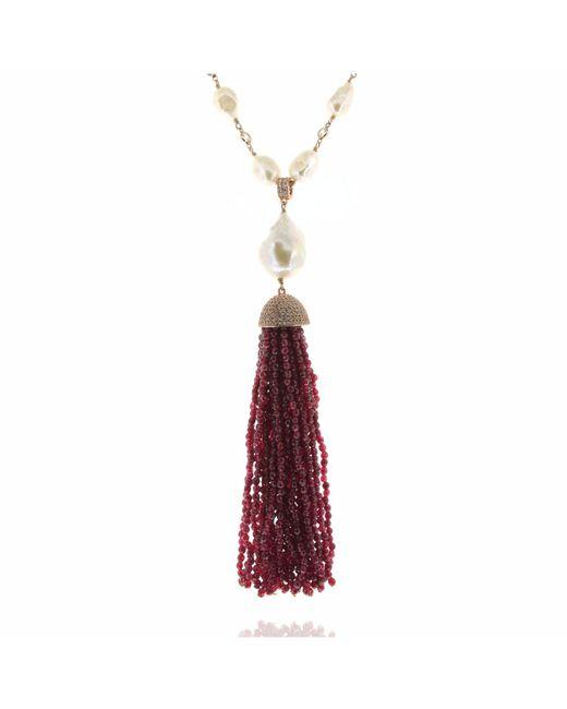 Cosanuova - Pearl & Red Jade Tassel Necklace - Lyst