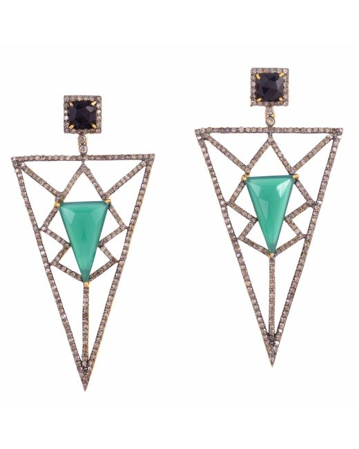 Meghna Jewels - Pyramid Earrings Green Chalcedony & Diamonds - Lyst