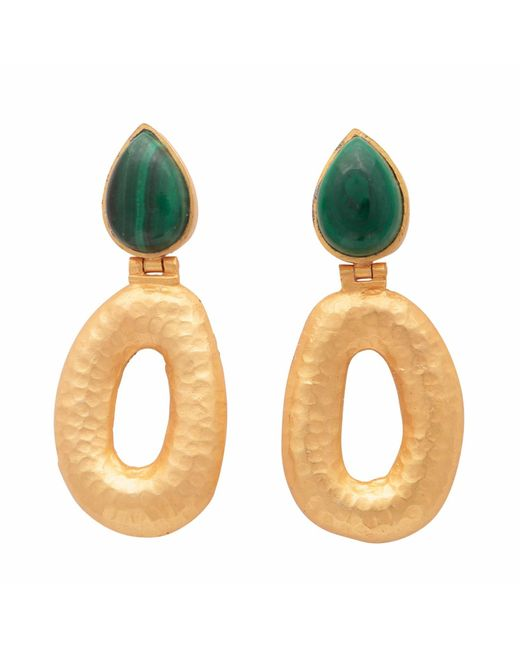 Carousel Jewels - Metallic Matte Gold Finish Malachite Earrings - Lyst