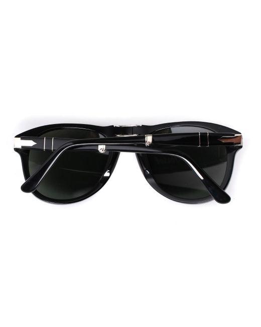 fcac4c932c ... Persol - 714 Black Acetate Folding Aviator Sunglasses for Men - Lyst ...