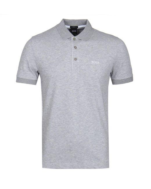 BOSS Green - Gray Paule Grey Marl Polo Shirt for Men - Lyst