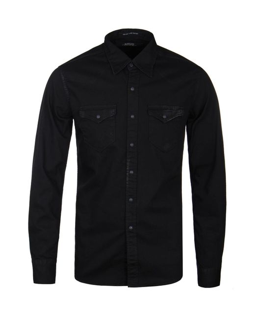 lyst replay faded black denim shirt in black for men
