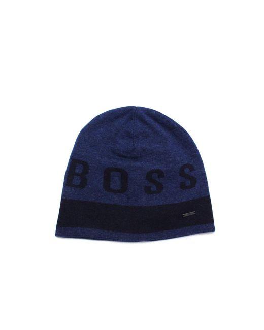 ce2b8f1fb48 Lyst - Boss Ebondi Blue Wool Blend Beanie in Blue for Men