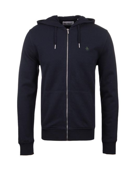 Original Penguin   Blue Dark Sapphire Zip Through Hooded Pique Sweatshirt for Men   Lyst