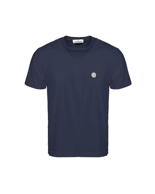 Stone Island - Blue Patch Logo T-shirt for Men - Lyst