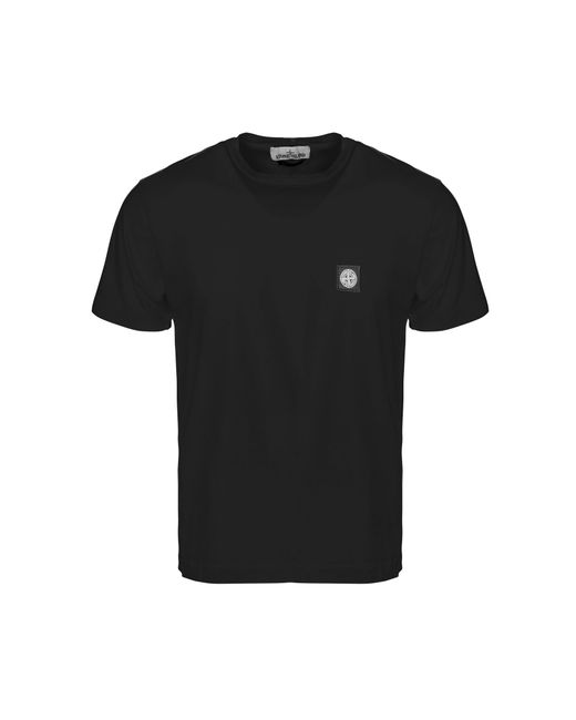 Stone Island - Black Patch Logo T-shirt for Men - Lyst