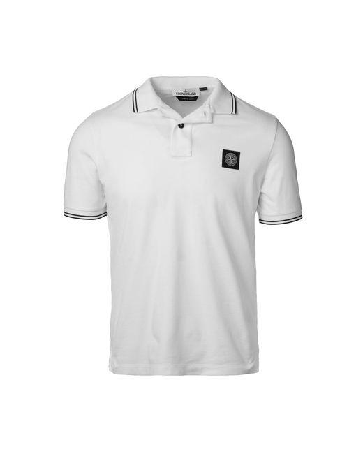 Stone Island - White Logo Patch Polo for Men - Lyst