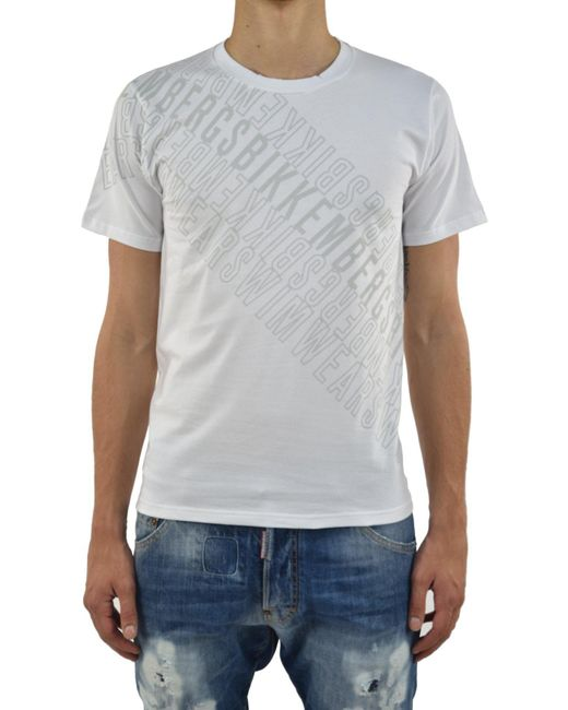 Bikkembergs - T-shirt White Sea Writings for Men - Lyst