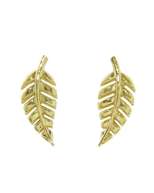 Jennifer Meyer - Metallic Mini Leaf Stud Earrings - Lyst