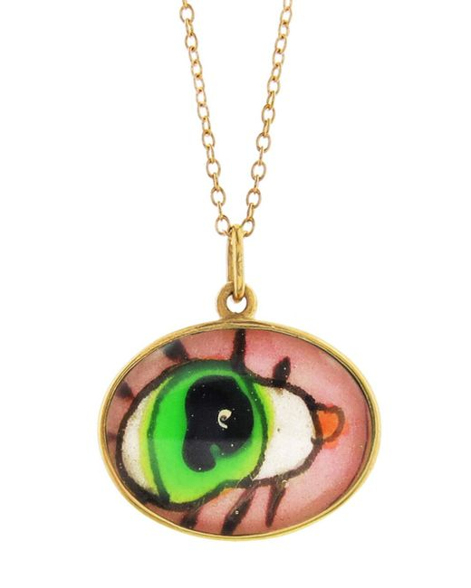 Ileana Makri - Multicolor Hand Painted Green And Pink Evil Eye Necklace - Lyst