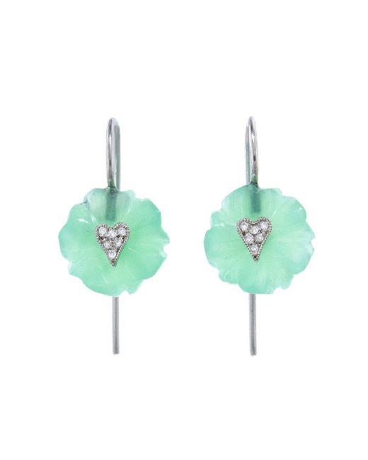 Cathy Waterman - Multicolor Chrysoprase Flower Diamond Heart Earrings - Lyst