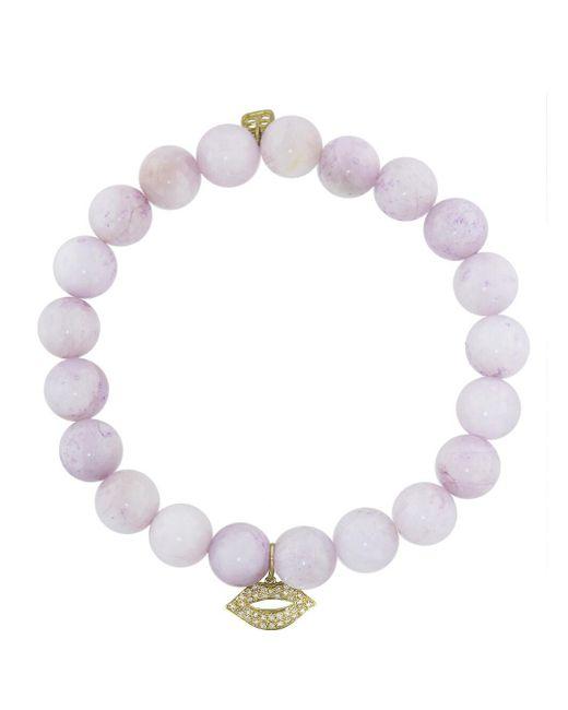 Sydney Evan - Multicolor Diamond Lips Charm On Kunzite Beaded Bracelet - Lyst