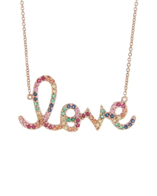 Sydney Evan - Multicolor Large Rainbow Love Necklace - Lyst