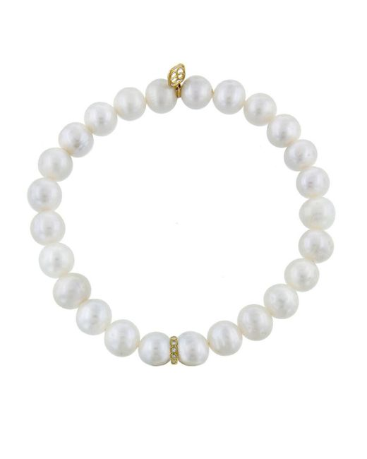 Sydney Evan - Multicolor Diamond Rondelle Charm On Pearl Beaded Bracelet - Lyst