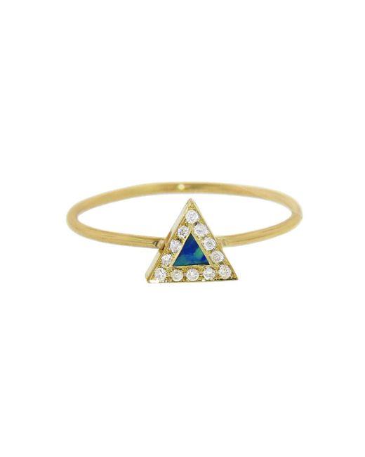 Jennifer Meyer - Multicolor Opal Inlay Diamond Triangle Ring - Lyst