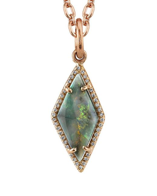 Irene Neuwirth - Blue Lightening Ridge Opal And Diamond Pavé Charm - Lyst