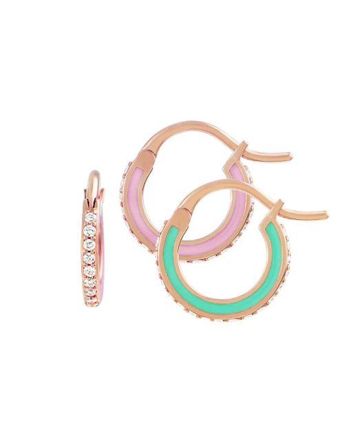 Raphaele Canot - Green And Pink Skinny Deco Hoop Earrings - Lyst