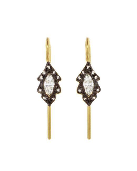 Cathy Waterman - Metallic Diamond Marquise Leaf Earrings - Lyst