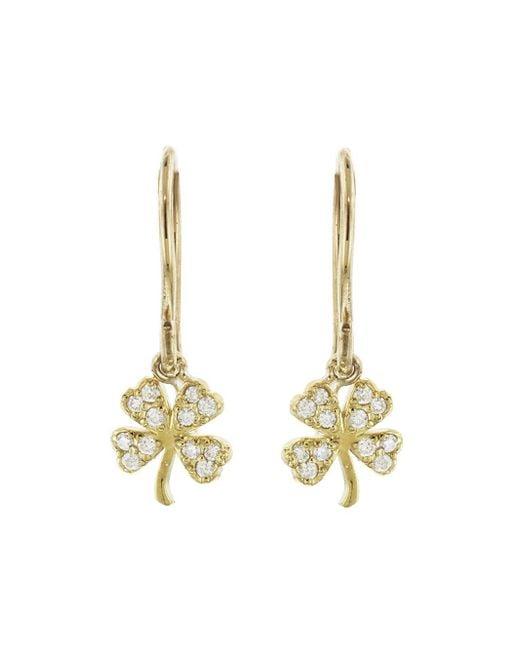 Jennifer Meyer - Metallic Mini Diamond Clover Earrings - Lyst