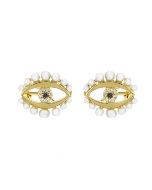 Ileana Makri - Metallic Eye Flow Pearl Stud Earrings - Lyst