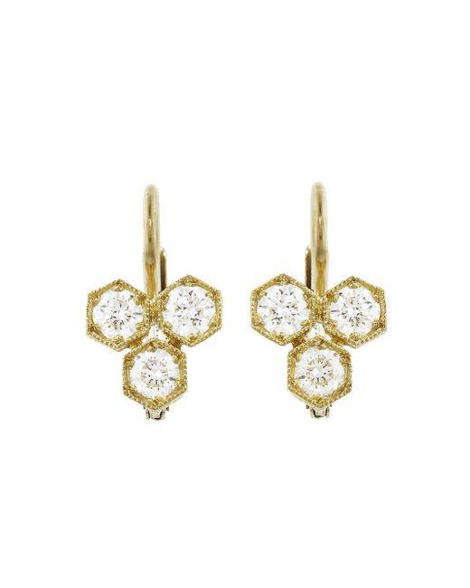 Cathy Waterman - Multicolor Triple Hexagonal Diamond Earrings - Lyst