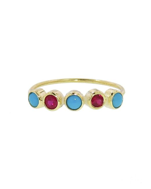 Jennifer Meyer - Multicolor Turquoise And Ruby Five Stone Ring - Lyst