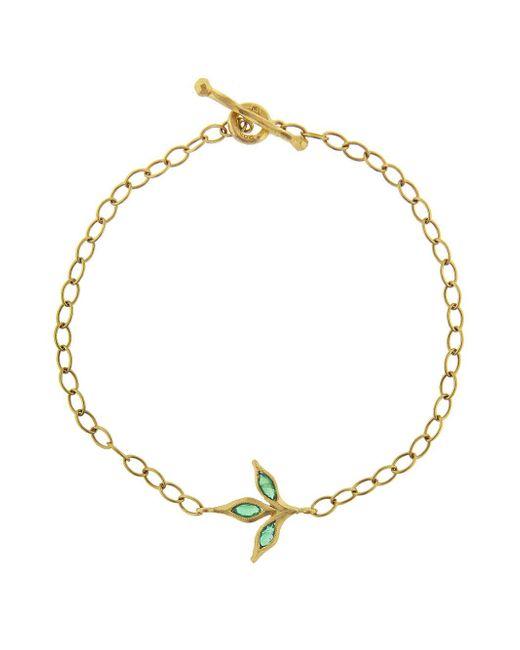 Cathy Waterman - Metallic Three Leaf Emerald Chain Bracelet - Lyst