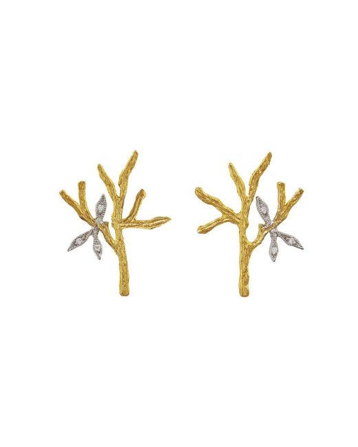 Cathy Waterman - Multicolor Tree Branch & Leaves Stud Earrings - Lyst