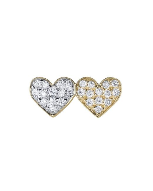 Sydney Evan - Multicolor Double Diamond Heart Stud Earring - Lyst