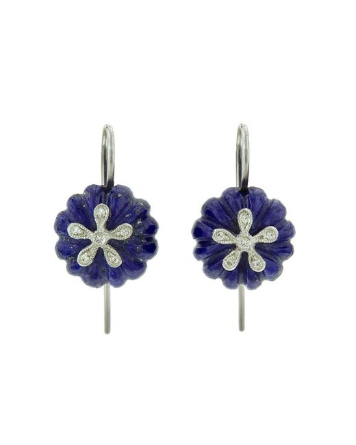 Cathy Waterman - Blue Lapis Daisy Bead Earrings - Lyst