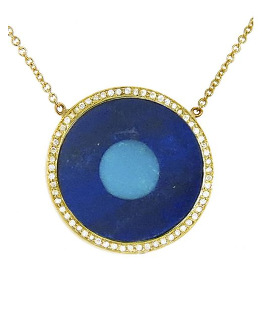 Jennifer Meyer - Blue Lapis Inlay And Turquoise Center Eye Necklace With Diamonds - Lyst