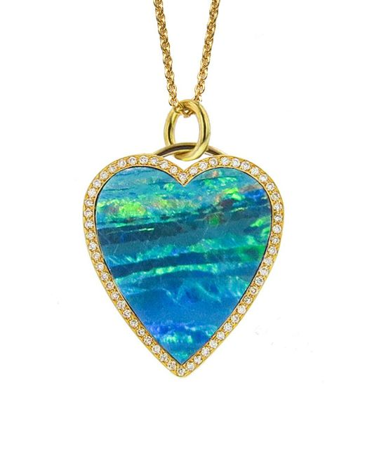 Jennifer Meyer - Blue Opal Inlay Diamond Heart Necklace - Lyst