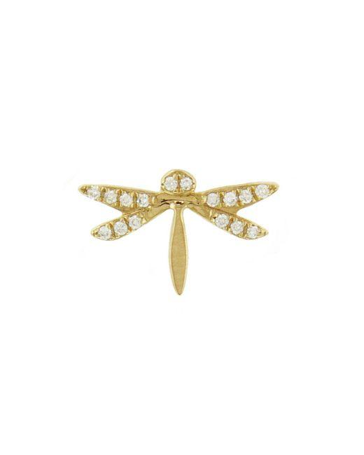 Sydney Evan - Metallic Diamond Dragonfly Single Stud Earring - Lyst