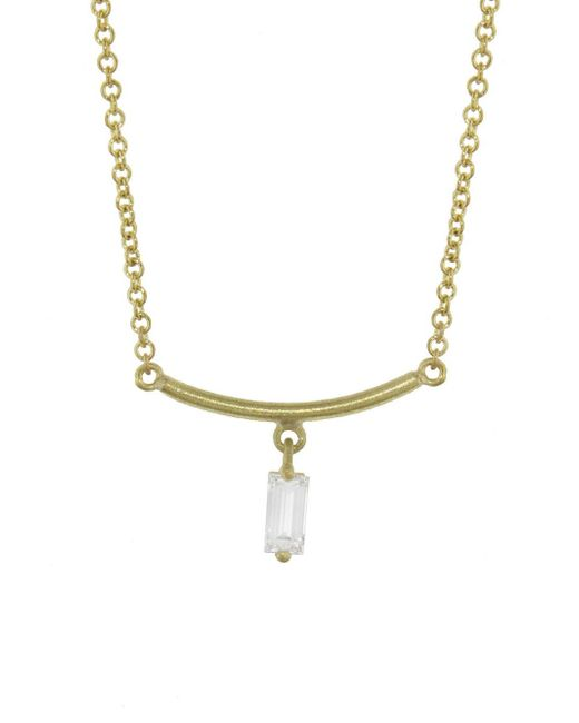 Tate - Metallic Diamond Rectangle Arc Necklace - Lyst