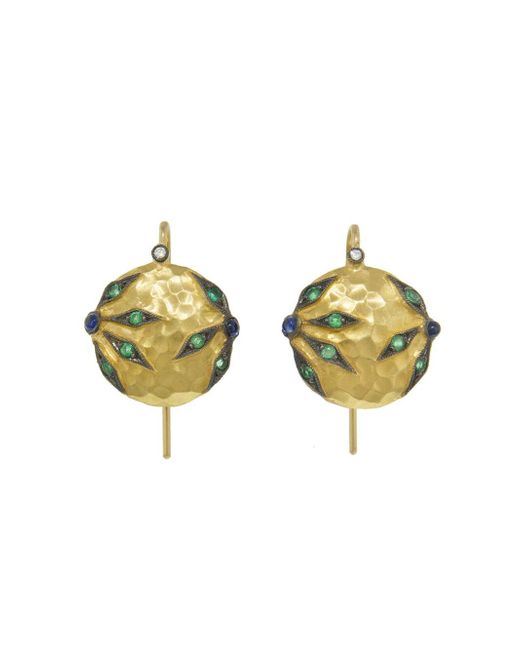 Cathy Waterman - Multicolor Emerald And Blue Sapphire Flower Overlay Earrings - Lyst