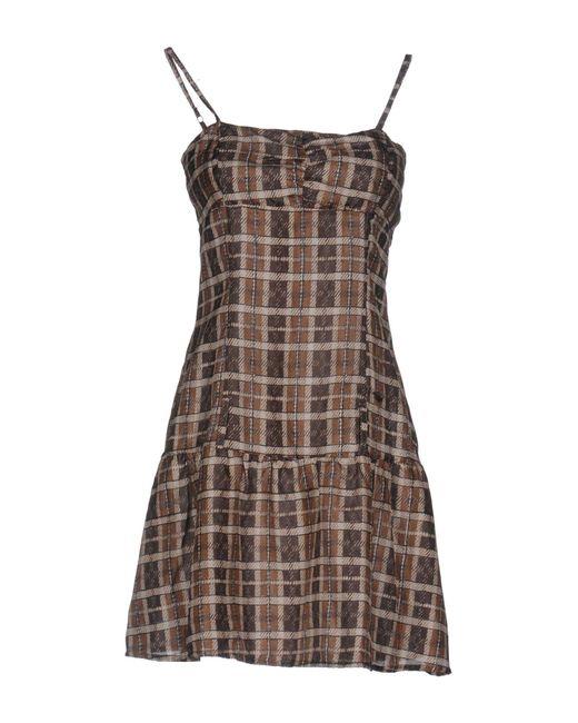 Met | Brown Short Dress | Lyst