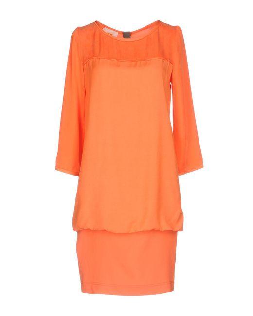 BOSS Orange - Orange Short Dress - Lyst