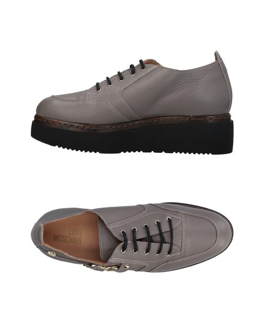 Love Moschino - Gray Lace-up Shoe - Lyst
