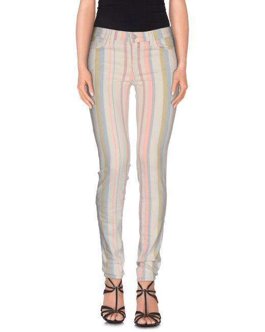 J Brand - White Denim Trousers - Lyst