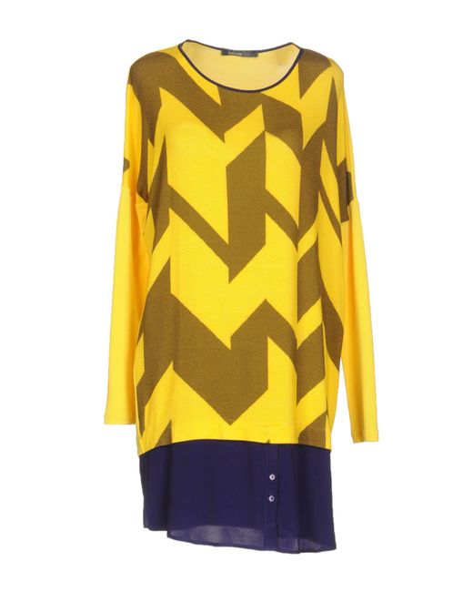 Pianurastudio - Yellow Short Dress - Lyst