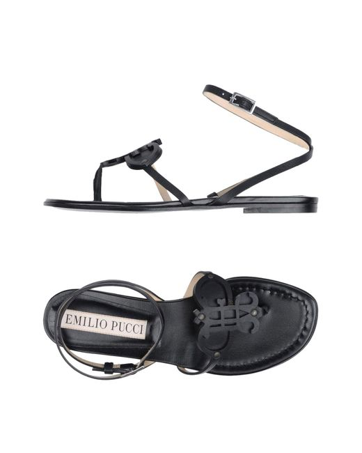 Emilio Pucci - Black Toe Post Sandal - Lyst