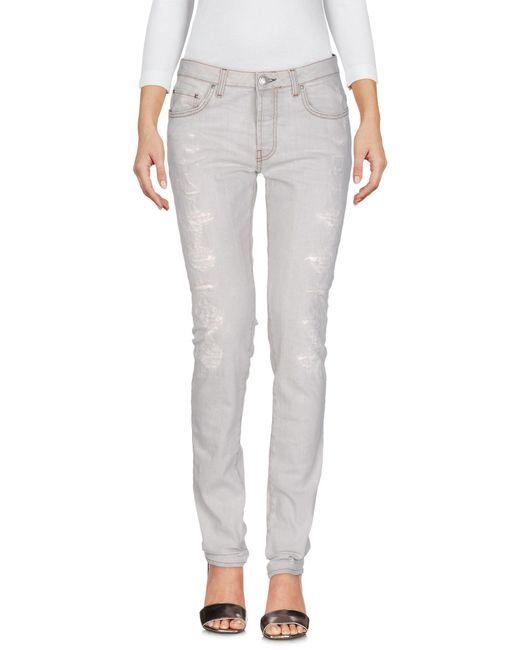 Aglini - Gray Denim Trousers - Lyst