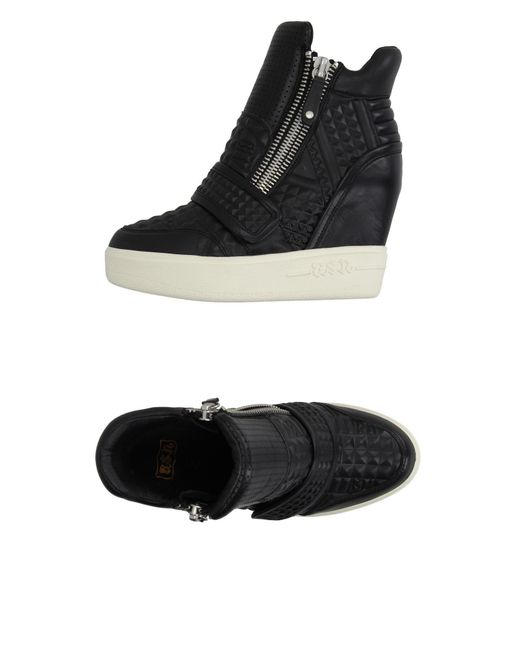 Ash | Black Shearling Lace-up Sneakers for Men | Lyst